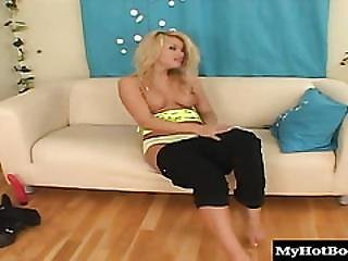 Vika Is A Gorgeous Blonde Teen, Who Has Big Natural Knockers, A Belly