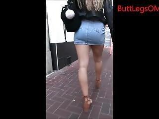 Candid Blonde Short Skirt Long Legs