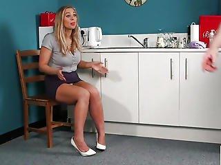 Breasty British Voyeur Instructing Boy With Joi