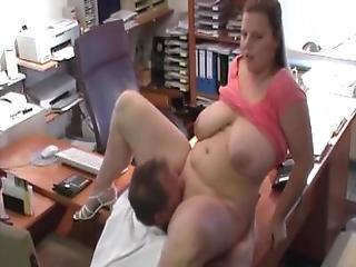 Bbw, μελαχροινή, Cowgirl, πεπόνια, γραφείο, τατουάζ