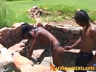African Milf Bound And Tortured Before Sucking Cock
