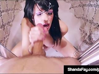 Brunette Housewife Shanda Fay Blows A Dick & Gets Her Cum!