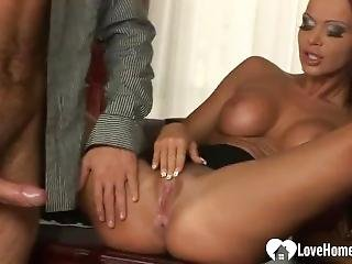 Big Tits Blonde Handles A Huge Meat Pole