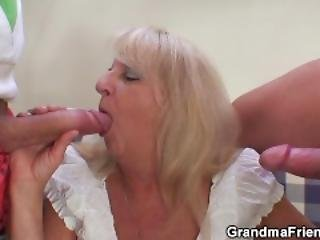 Party 3some With Boozed Blonde Grandma
