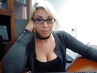 amateur, au travail, masturbation, secrétaire, sexe, jouets, webcam