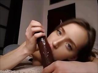adorable, pipe, brunette, gode, petits seins, suce, jouets