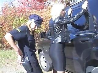 Leather Jacket Girl Arrested, Handcuffed Really Tight