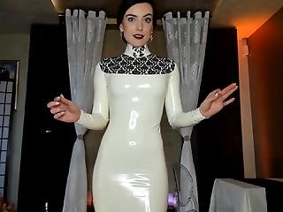 White Latex Dress Tease