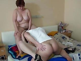 Oldnanny Mom And Pretty Teen Is Playing With Young Dick
