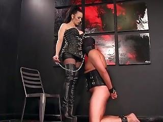 Femdomlady Boots Licker And Cums Part2 On