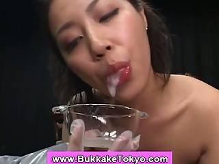 Asiatica, Bukkake, Sbavata, Sburrata In Faccia, Giapponese, Sperma