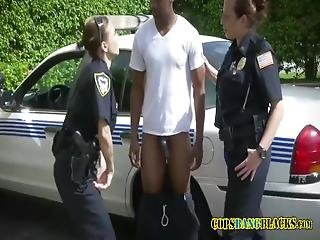 Milf Police Pull Off Suspects Pants Off And Start Sucking On His Dick