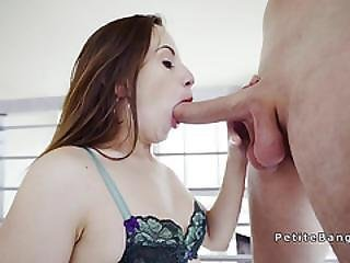 Petite Babe Lets Huge Cock Spread Her Cunt