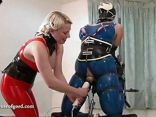 Latex Bondage Doll Jewell Vibed And Machine Fucked