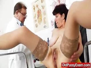 Handsome Oma Splitting Her Long Legs