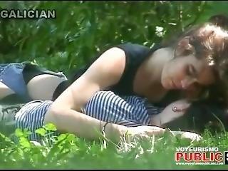 City Park Lovers - Public Voyeur Sex. Spy Cam Couple Fuck In The Bushes.