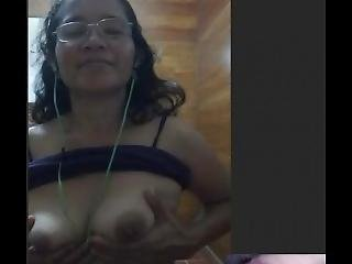 Cute Filipina Milf Nelie Showing Her Tits And Fingering Her Pussy On Skype