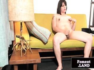 Gaping Trap Wanking Her Hard Cock