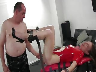 Old Pervert Fisting Her Teen Pussy In Bondage