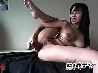 Big Ass Asiatique Masturbe Tattood