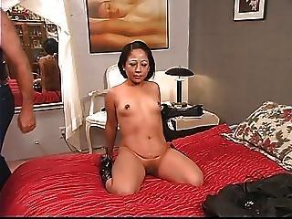 Ponytailed Dude Whips Roped Latina S Tattooed Ass