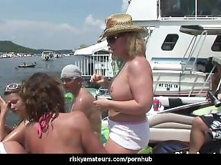 Slutty Amateur Chicks Get Dirty On A Boat