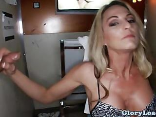 Gloryhole Milf Drooling On Two Cocks
