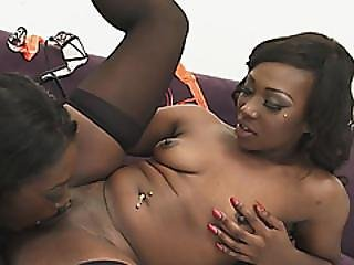 Hot Ebony Bitches Monica Rae And Skyler Nicole Satisfying Each Other In Sexy Stockings