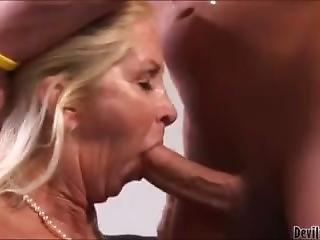 Blonde Granny Sucking A Big Cock