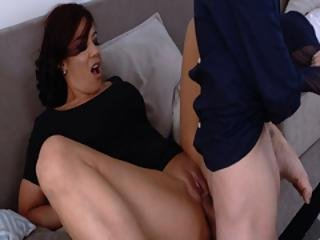 Hot Momma Fucks Stepson On The Couch While His Girlfriend Is Resting