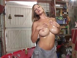 Babe, Big Tit, Blonde, Busty, Garage