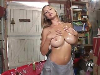 Busty Girl Having Fun In The Garage
