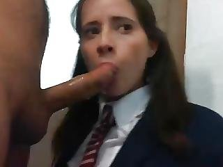 Shy Teen In Schoogirl Blowjob Fuck Part 1