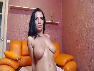 Cute Brunette Rubs Her Big Boobs And Pussy On Cam