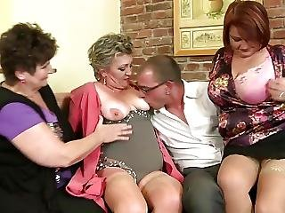 Mature Mothers Sharing One Lucky Boys Cock