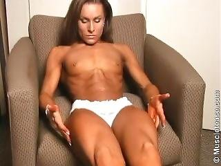 Flexing In Chair Showing Small Tits And Abs