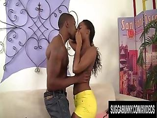 Small Titted Ebony Slut Channell Heart Uses Her Mouth And Cunt To Please A Dude