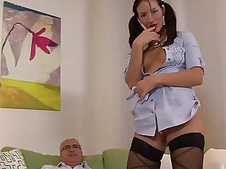 Old Man And Sexy Girl With 2 Pontyail
