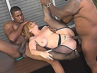 Slutty Office Cougar Kiki Daire Fucks Two Black Thugs On Desk