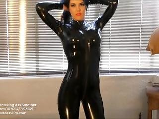 Young Goddess Kim - Latex Catsuit Ass Worship