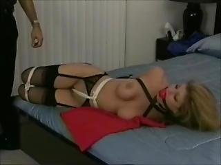 A Lovely Girl Put In Tight Bondage Singleglove Armbinder Collar Ballgag