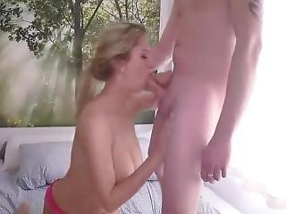 blond, blowjob, brystet, rompe, cumshot, juicy