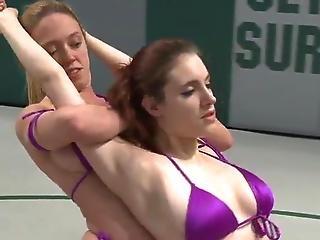 Blonde Honey Wrestling And Dominating Ginger Chick