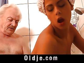 Blowjob, Brunette, Fucking, Grandpa, Hardcore, Horny, Shower, Teen, Young