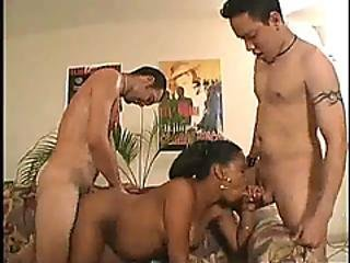 A Slutty Preggo Ebony Chick Gets Fucked By Her Husband And Some Stranger