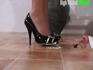 Slave Licks Cream Puff Off Black Heels