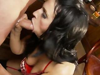 Long Haired Brunette Breath Heavily While Getting A Long Rod In Her Hole