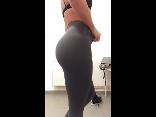 Ncaa College Soccer Girl Modeling After Workout At The Gym In Sporty Outfit