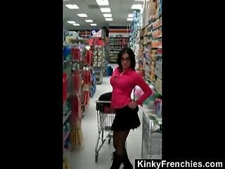 Buttplugged Exhibitionist At The Store