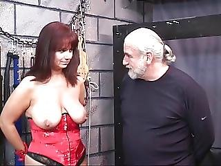 Bdsm, Big Boob, Blindfold, Boob, Brunette, Clamped, Corset, Lingerie, Mature, Nylon, Old, Pussy, Torture